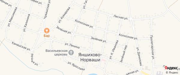 Зеленая улица на карте села Яншихова-Норвашей с номерами домов