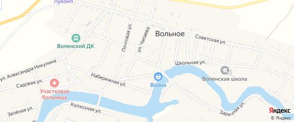 Волжский переулок на карте Вольного села с номерами домов