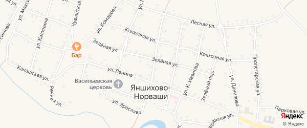 Улица Чапаева на карте села Яншихова-Норвашей с номерами домов