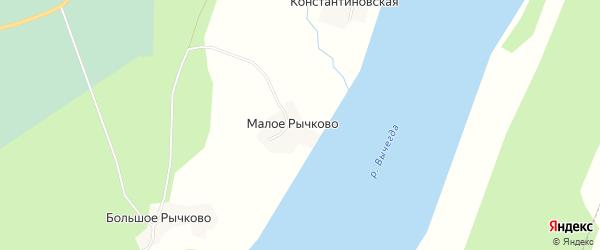 Карта деревни Рычково в Архангельской области с улицами и номерами домов