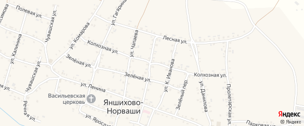 Колхозная улица на карте села Яншихова-Норвашей с номерами домов