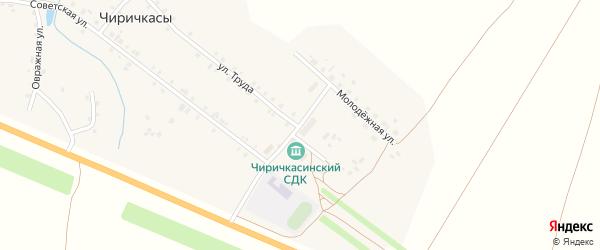 Молодежная улица на карте деревни Чиричкасы с номерами домов