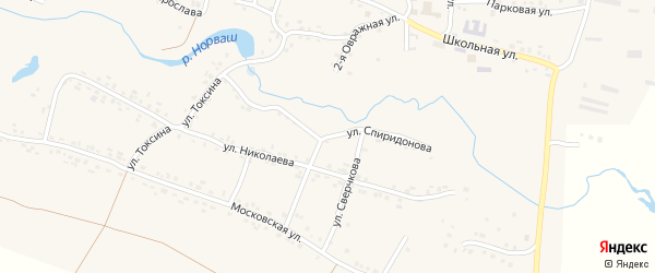 Улица Спиридонова на карте села Яншихова-Норвашей с номерами домов