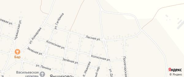 Лесная улица на карте села Яншихова-Норвашей с номерами домов