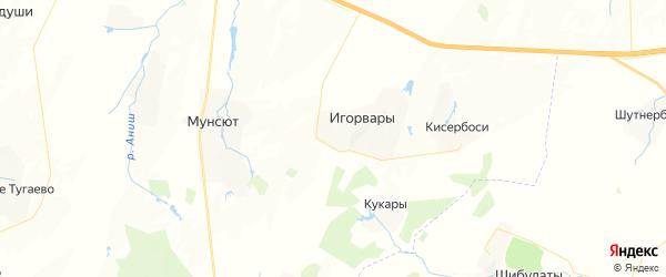Карта Игорварского сельского поселения республики Чувашия с районами, улицами и номерами домов
