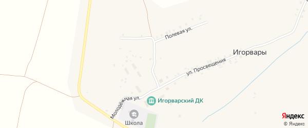 Улица Просвещения на карте села Игорвары с номерами домов