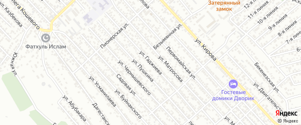 Улица Гаджиева на карте Каспийска с номерами домов