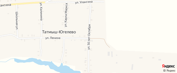 Улица 50 лет Октября на карте деревни Татмыш-Югелево с номерами домов