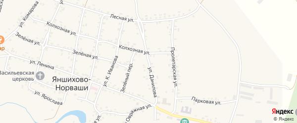 Улица Данилова на карте села Яншихова-Норвашей с номерами домов