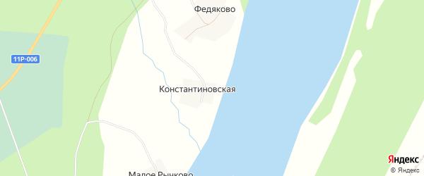 Карта Константиновской деревни в Архангельской области с улицами и номерами домов