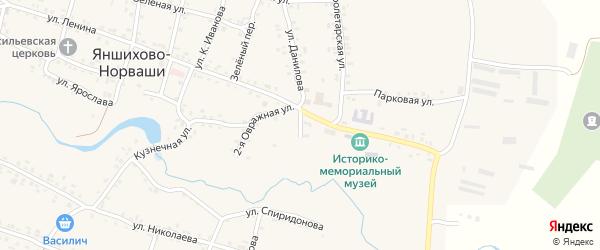 1-ая Овражная улица на карте села Яншихова-Норвашей с номерами домов