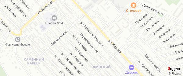 Безымянная 1-я улица на карте Каспийска с номерами домов