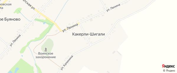 Комсомольский переулок на карте деревни Какерли-Шигали с номерами домов