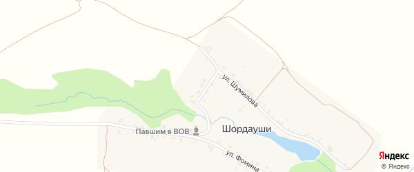 Улица Зайцева на карте деревни Шордаушей с номерами домов