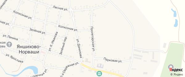 Пролетарская улица на карте села Яншихова-Норвашей с номерами домов
