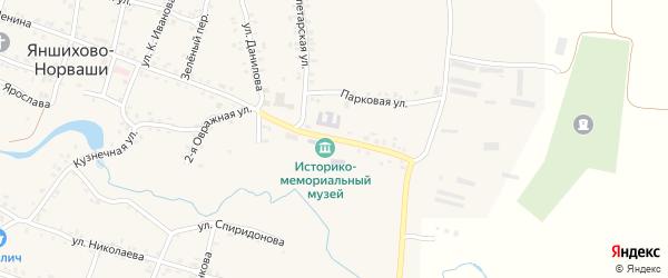 Школьная улица на карте села Яншихова-Норвашей с номерами домов
