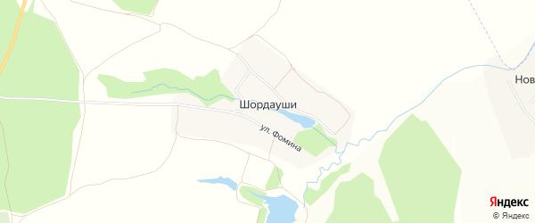 Карта деревни Шордаушей в Чувашии с улицами и номерами домов