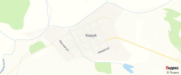Карта деревни Хоруй в Чувашии с улицами и номерами домов