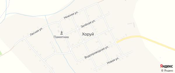 Центральная улица на карте деревни Хоруй с номерами домов