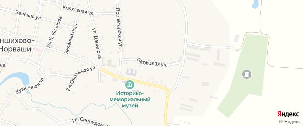Парковая улица на карте села Яншихова-Норвашей с номерами домов