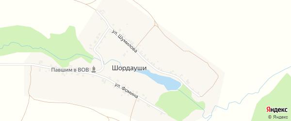Улица Шумилова на карте деревни Шордаушей с номерами домов