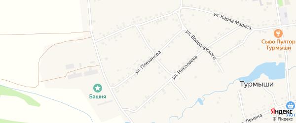 Улица Плеханова на карте села Турмыши с номерами домов