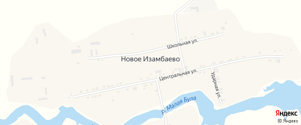 Ударная улица на карте деревни Новое Изамбаево с номерами домов