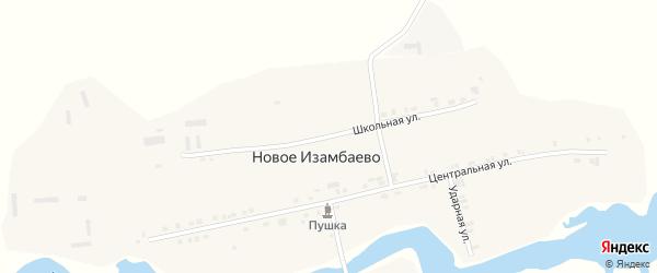 Школьная улица на карте деревни Новое Изамбаево с номерами домов
