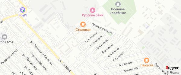 Улица Дружба СНТ Линия 12 на карте Каспийска с номерами домов