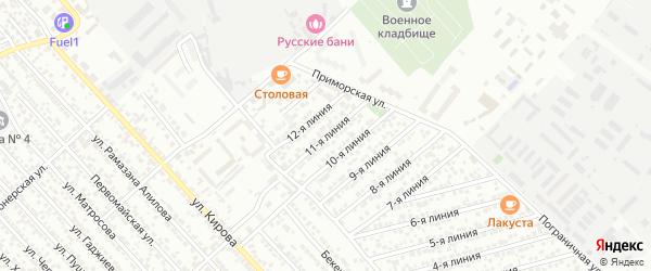 Улица Авангард СНТ Линия 11 на карте Каспийска с номерами домов