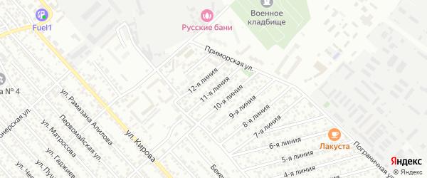 Улица Заря СНТ Линия 11 на карте Каспийска с номерами домов