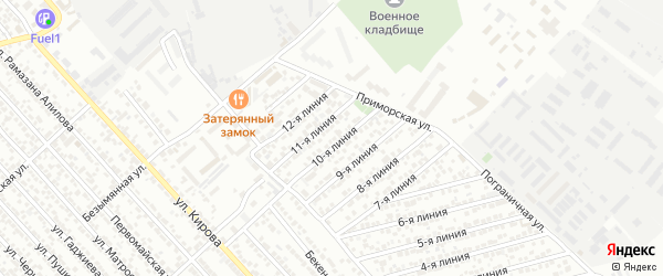 Улица Линия 9 на карте Кирпичного поселка с номерами домов