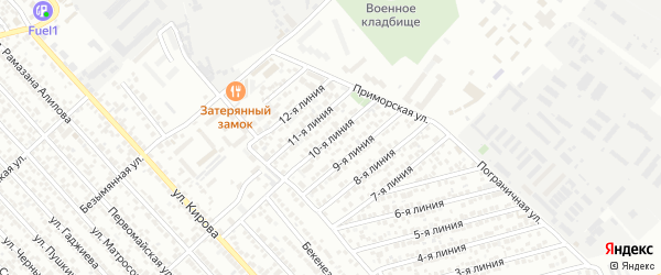 Улица Рассвет СНТ Линия 10 на карте Каспийска с номерами домов