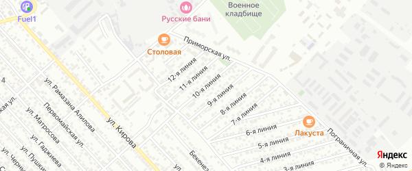 Улица Заря СНТ Линия 10 на карте Каспийска с номерами домов