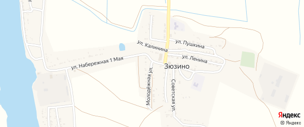 Молодежная улица на карте села Зюзино с номерами домов