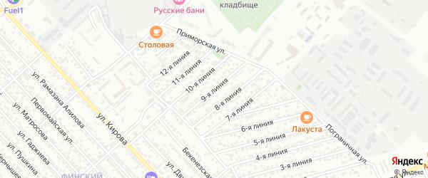 Улица Колос СНТ Линия 9 на карте Каспийска с номерами домов
