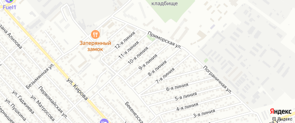 9-я линия на карте Кирпичного микрорайона с номерами домов