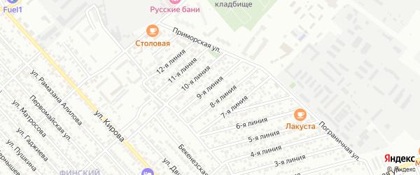 9-я линия на карте Зари 2 СНТ с номерами домов