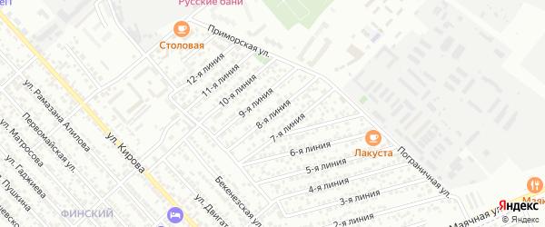 Улица Весна СНТ Линия 8 на карте Каспийска с номерами домов