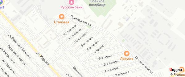 Улица Линия 13 на карте Кирпичного поселка с номерами домов