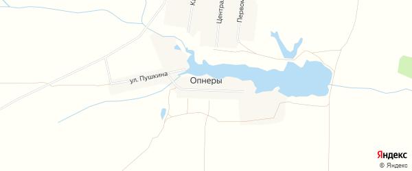 Карта деревни Опнер в Чувашии с улицами и номерами домов