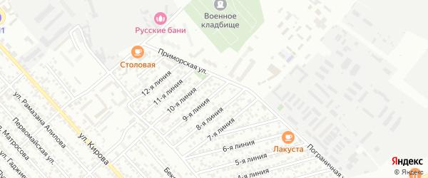 Улица Линия 6 на карте Кирпичного поселка с номерами домов