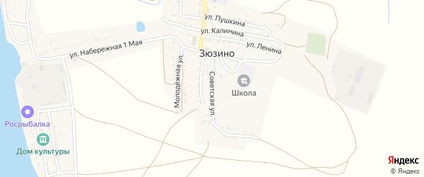 Советская улица на карте села Зюзино с номерами домов