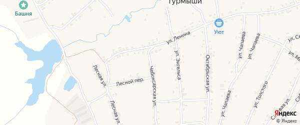 Чебоксарская улица на карте села Турмыши с номерами домов