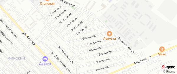Улица Дружба СНТ Линия 6 на карте Каспийска с номерами домов