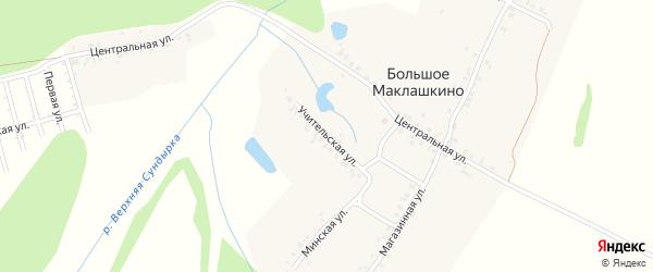 Учительская улица на карте деревни Большое Маклашкино с номерами домов