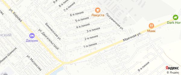 Безымянная 2-я улица на карте Каспийска с номерами домов
