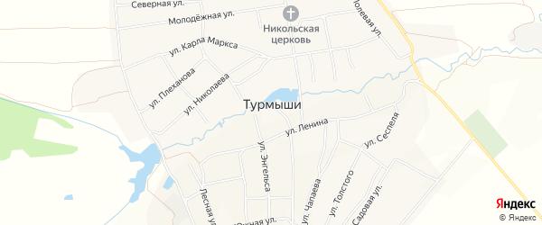Карта села Турмыши в Чувашии с улицами и номерами домов