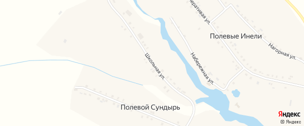 Школьная улица на карте деревни Полевого Сундыря с номерами домов