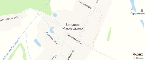 Солнечная улица на карте деревни Большое Маклашкино с номерами домов